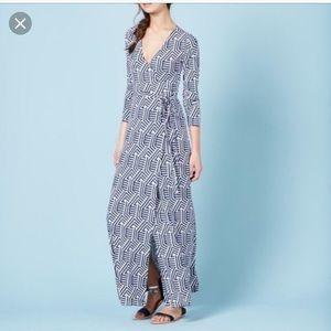 Boden Geometric Wrap Maxi Dress Sz 8R